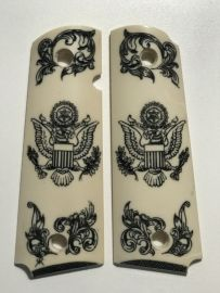 GOVERNMENT - FULL SIZE 1911 HANDGUN GRIP-US ARMY EMBLEM WITH FILIGREE