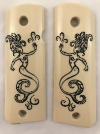 GOVERNMENT - FULL SIZE 1911 HANDGUN GRIP-FANCY MERMAID