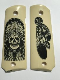 OFFICER - COMPACT 1911 HANDGUN GUNGRIPS - NATIVE AM HEADDRESS