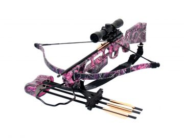 SA SPORTS MUDDY GIRL FEVER RECURVE STYLE CROSSBOW PACKAGE W/SCOPE - 175LB PINK
