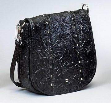 CONCEALED CARRY PURSE - SIMPLE BLING IN TOOLED LEATHER