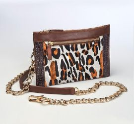 CONCEALED CARRY LEOPARD PRINT CHAINED WALLET