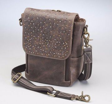 CONCEALED CARRY DISTRESSED LEATHER CROSS BODY SATCHEL