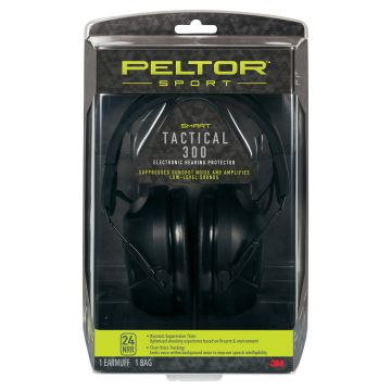PELTOR SPORT TACTICAL ELECTRONIC EARMUFF 300 w/ 3.5 MM AUDIO INPUT JACK
