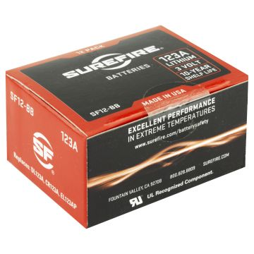 SUREFIRE CR123A LITHIUM BATTERY 12 PACK RED
