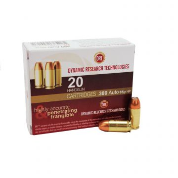 DYNAMIC RESEARCH TECHNOLOGIES 9MM 85GR FRANGIBLE JHP TERMINAL SHOCK /20