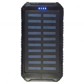 SOLAR CHARGING & BACKUP BATTERY BANK W/ LED LIGHT/SOS - BLACK