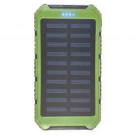 SOLAR CHARGING & BACKUP BATTERY BANK W/ LED LIGHT/SOS - GREEN