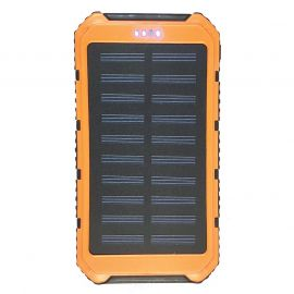 SOLAR CHARGING & BACKUP BATTERY BANK W/ LED LIGHT/SOS - ORANGE