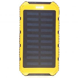 SOLAR CHARGING & BACKUP BATTERY BANK W/ LED LIGHT/SOS - YELLOW
