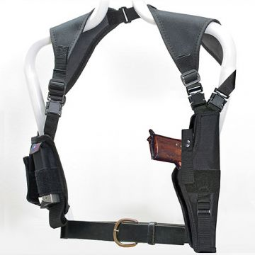 "Ace Single Vertical Shoulder Holster w/Harness & Ammo Pouch (Fits 4-5"" Barrel)"