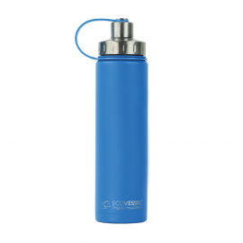 ECO VESSEL THE BOULDER 24OZ INSULATED WATER BOTTLE W/ STRAINER (Color: Hudson Blue)