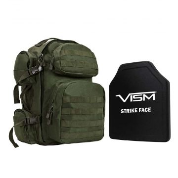 "VISM TACTICAL BACKPACK W/ 10""X12"" LEVEL III+ STR'S CUT BALLISTIC HARD PLATE ARMOR (Color: Ranger Green)"