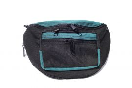 Concealed Carry Cordura Fanny Pack (Color: Black / Teal, Size: Medium 1)
