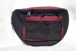 Concealed Carry Cordura Fanny Pack (Color: Black / Burgundy, Size: Medium 1)