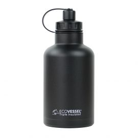 BOSS TRIPLE INSULATED STAINLESS STEEL GROWLER BOTTLE WITH INFUSER - 64 OZ (Color: Black Shadow)